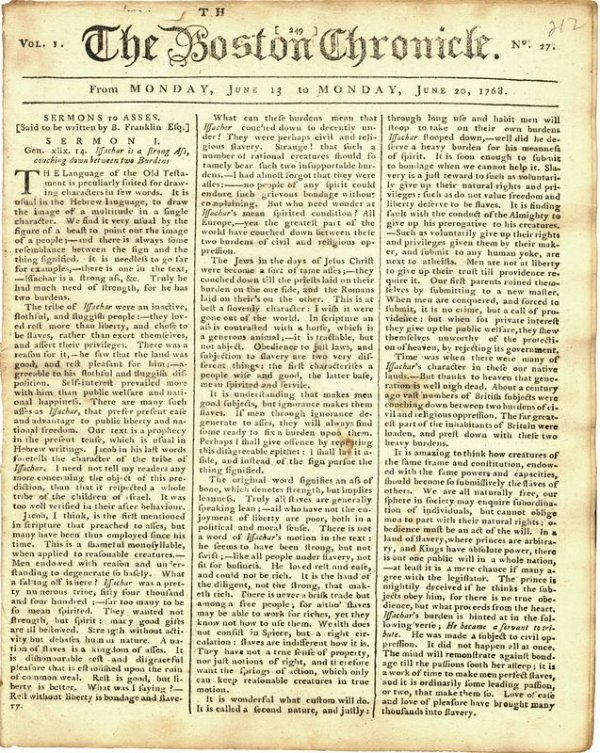 0065 Colonial Newspaper Quot The Boston Chronicle Quot Lot 65