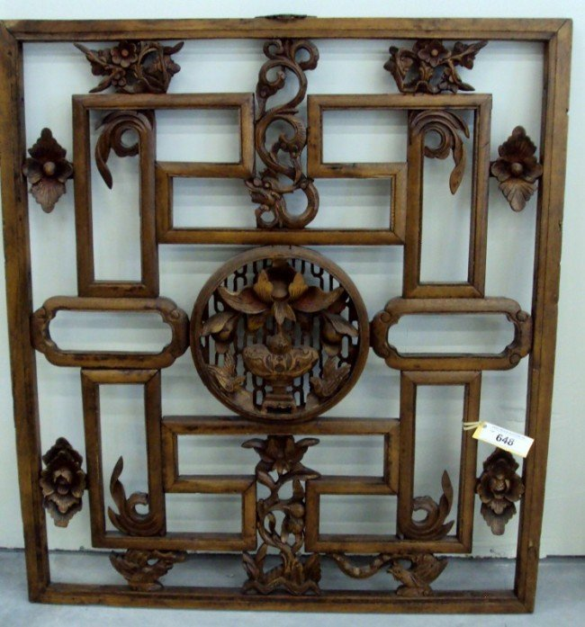335 Asian Carved Wood Wall D Cor Lot 335