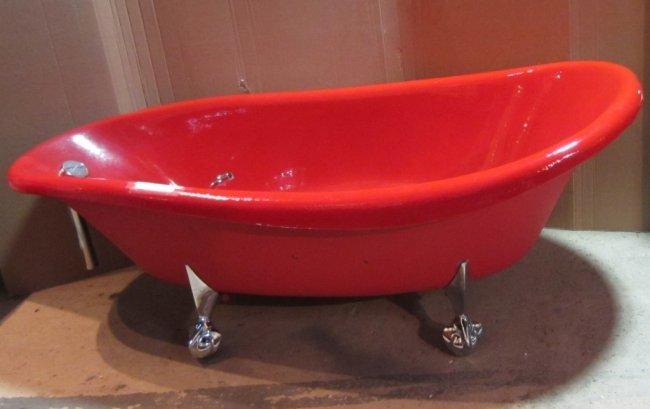 RED Kohler Birthday Bath Slipper Clawfoot Bathtub Lot 146