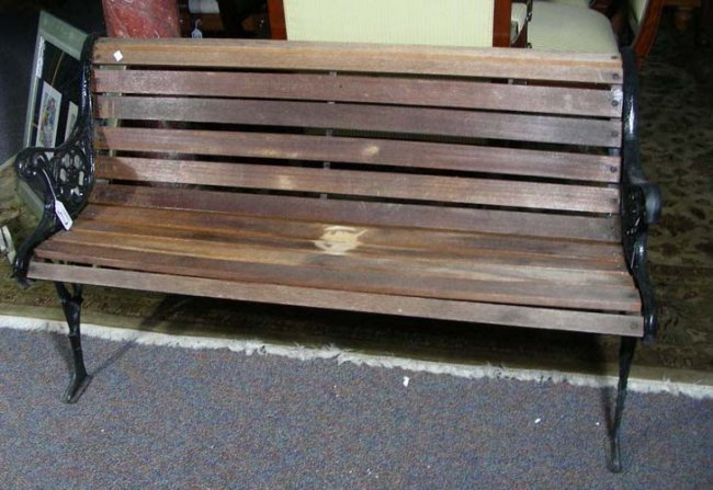 Old Heavy Cast Iron And Wood Park Bench Lot 21