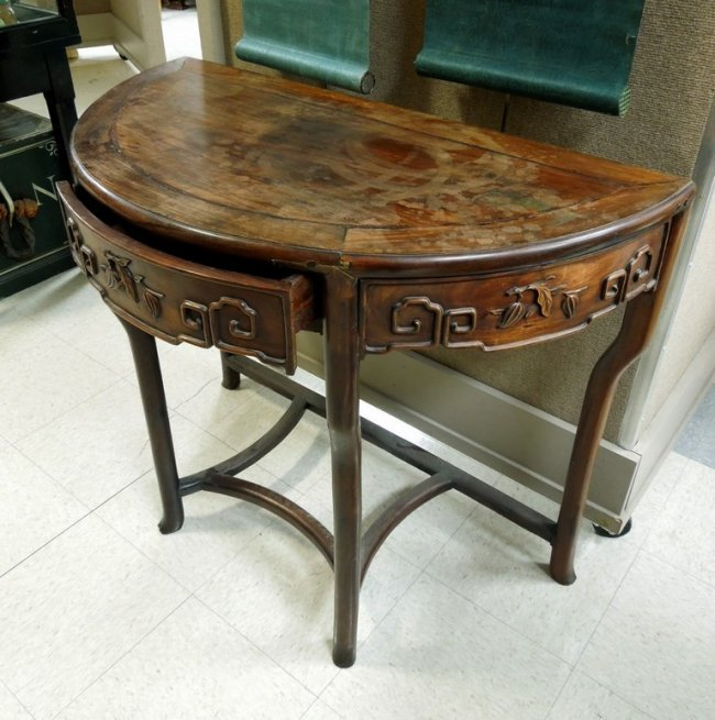 Chinese rosewood demi lune table lot 40 - Table cuisine demi lune ...