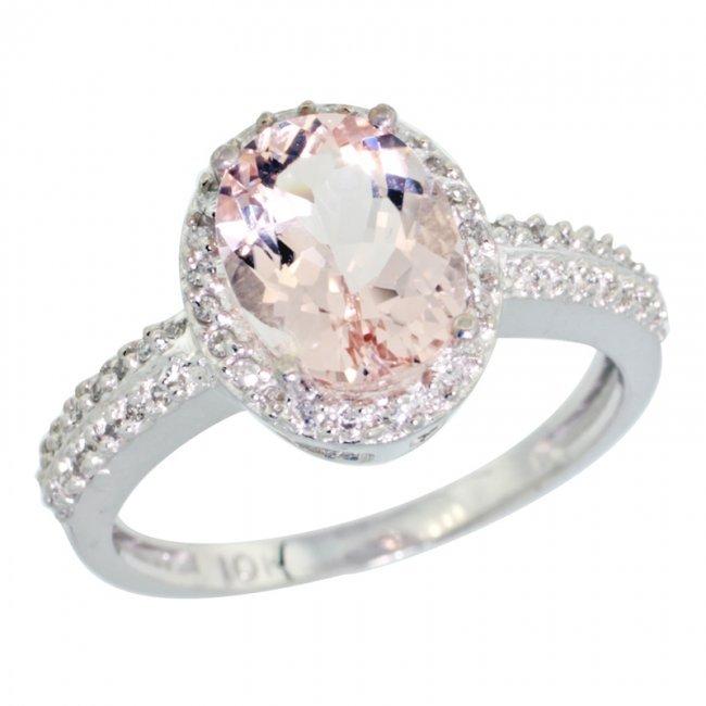 427c 14k white gold halo engagement morganite ring lot 427c