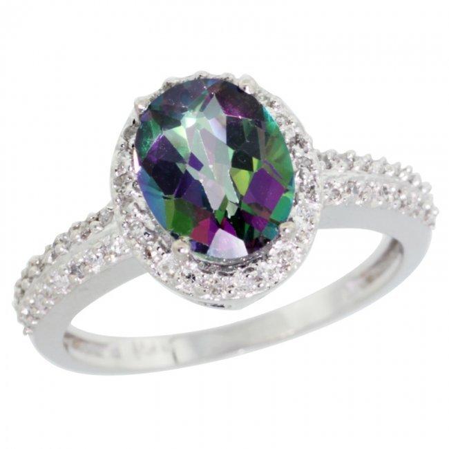 448c 14k white gold halo engagement mystic topaz ring