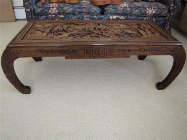 100 hand carved oriental coffee table lot 100 Hand carved coffee table