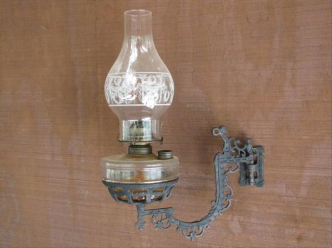 87: Primitive Oil Lamp Wall Sconce : Lot 87