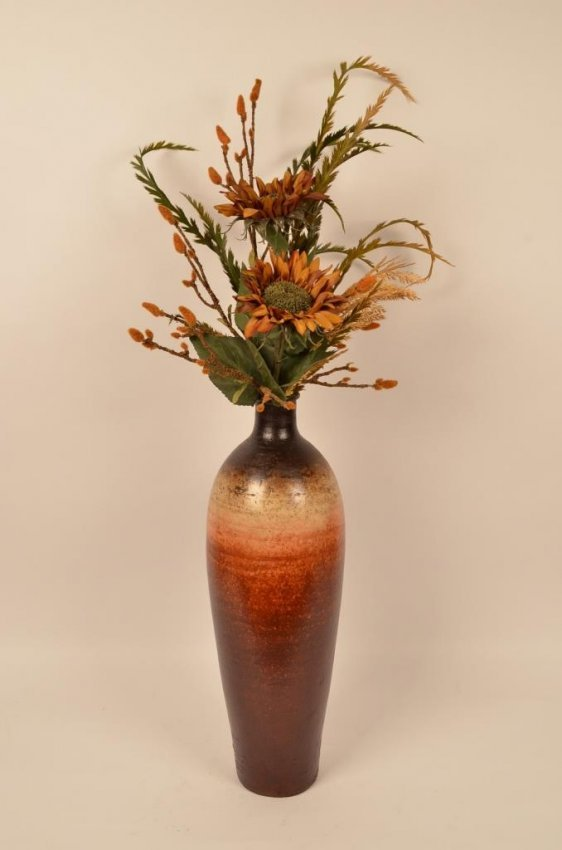 contemporary floor vase in earthy hues flowers lot 52 On floor vase with flowers