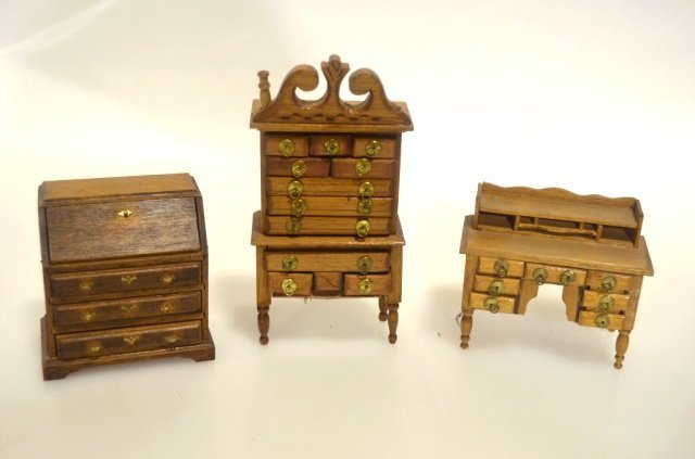 wood dollhouse office furniture miniature collectibles