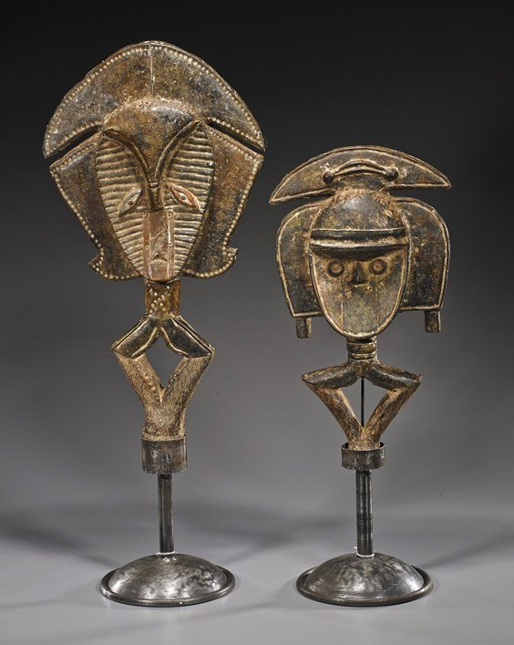 Pair african metal mounted wood carvings lot