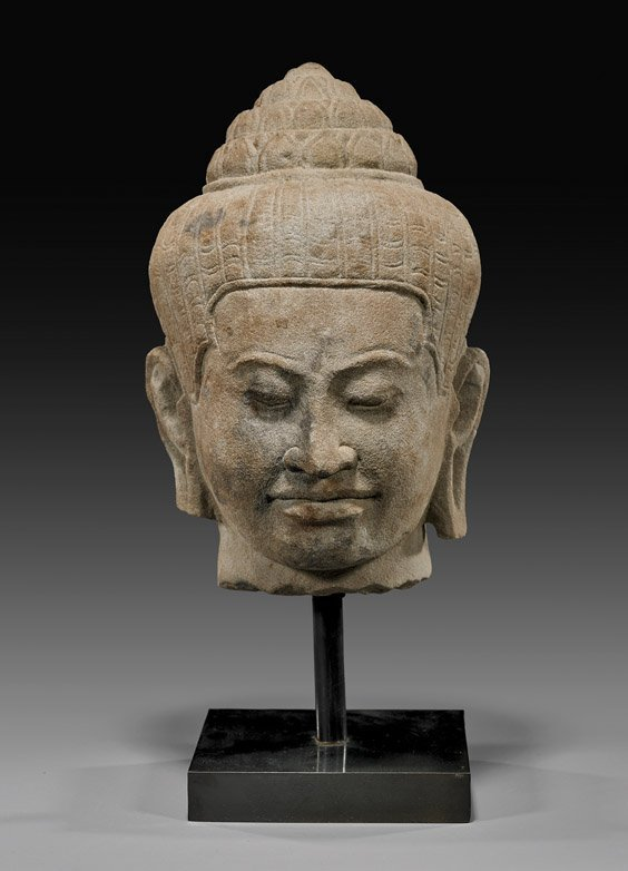 Large cambodian carved stone head lot