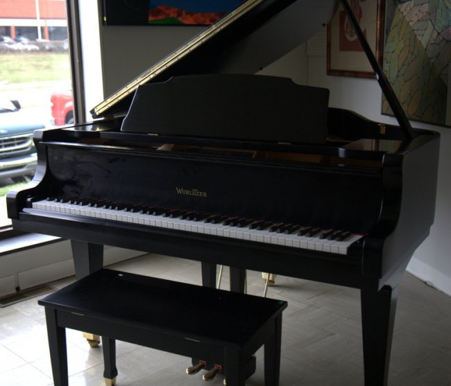 Wurlitzer ebony baby grand piano with bench lot 132 for Baby grand piano height