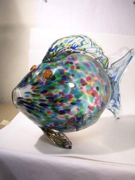 81 good hand blown italian glass fish sculpture lot 81 for Blown glass fish