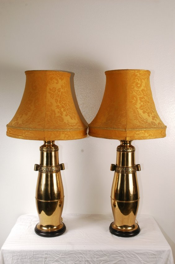 1043 Pair Of Vintage Brass Marbro Lamps Lot 1043