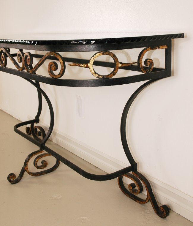 258 Vintage Wrought Iron Console Table Lot 258
