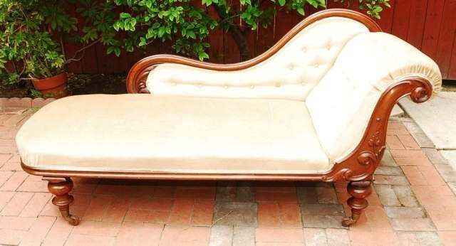 Antique mahogany chaise lounge lot 224 for Antique wooden chaise lounge
