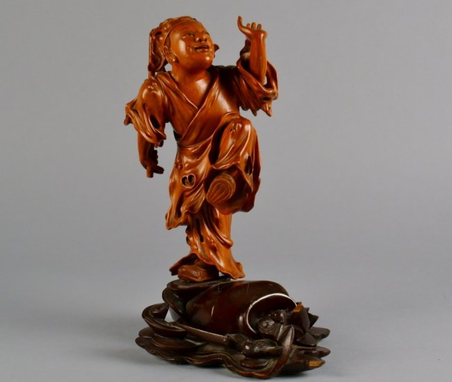 Antique chinese boxwood carving man standing lot