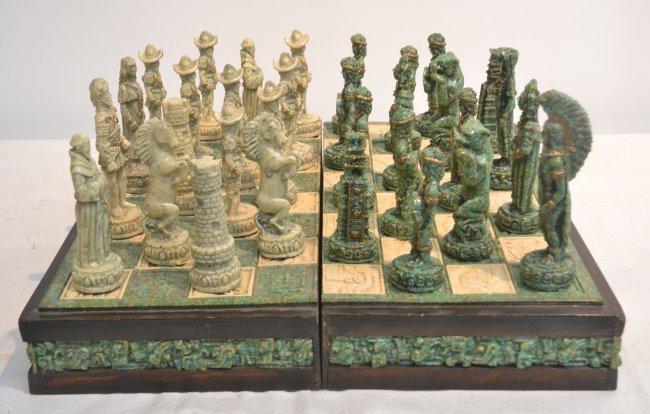 Mayan vs aztec stone chess set in self lot 20 - Granite chess set ...