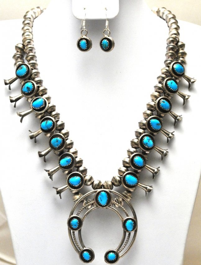 pawn navajo turquoise squash blossom necklace ear
