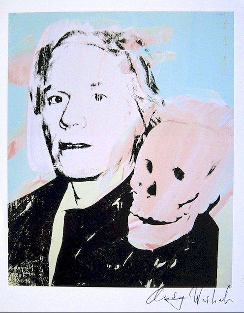 Andy Warhol,... Andy Warhol Self Portrait With Skull