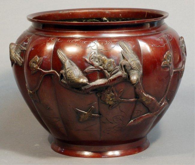 195: Japanese Copper Flower Pot : Lot 195