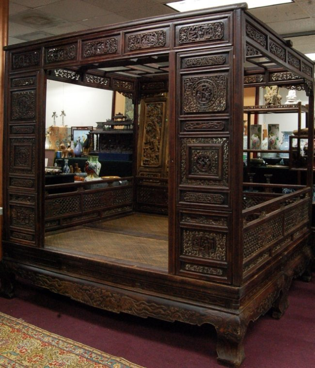 Antique Bed: Old Chinese Hardwood Carved Marriage Canopy Bed : Lot 57