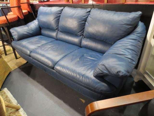 35 contemporary slate blue leather sofa chrome feet