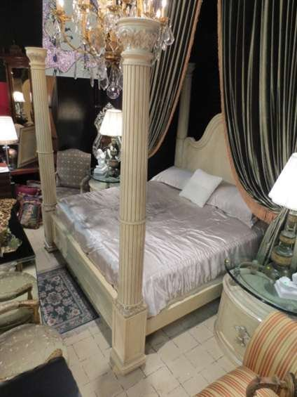 119 henredon four poster king bedroom set with silver