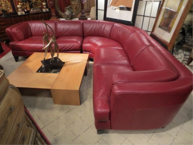 97 deep red italian leather sectional sofa 3 pcs incl for Deep red sectional sofa