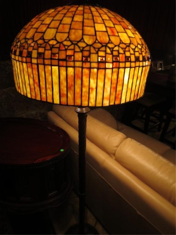 STAINED GLASS FLOOR LAMP, YELLOW, ORANGE, AND RUST : Lot 163