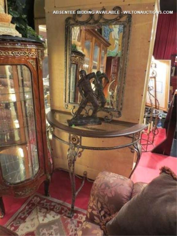 Metal Foyer Table Mirror : Ornate metal foyer table and mirror glass top ap
