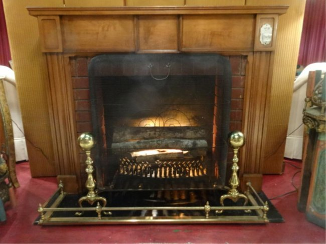 faux fireplace with lighted faux logs iron grate lot 83
