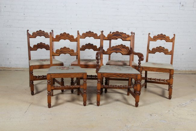 Six Antique Oak Dining Room Chairs Lot 89