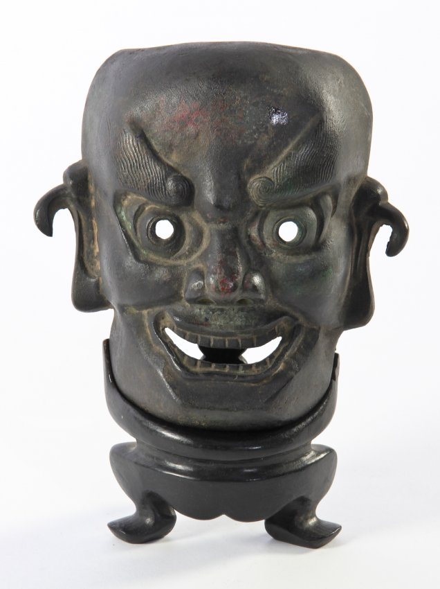 Antique Bronze Japanese Oni Noh Mask on Stand- Signed : Lot 38