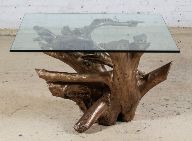 Glass Top Gilt Driftwood Coffee Table Lot 209