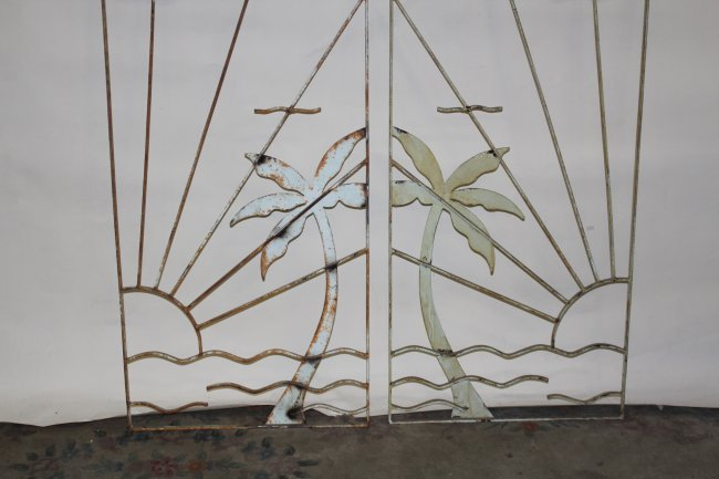 649: Pair 50's cast iron wall panels : Lot 649