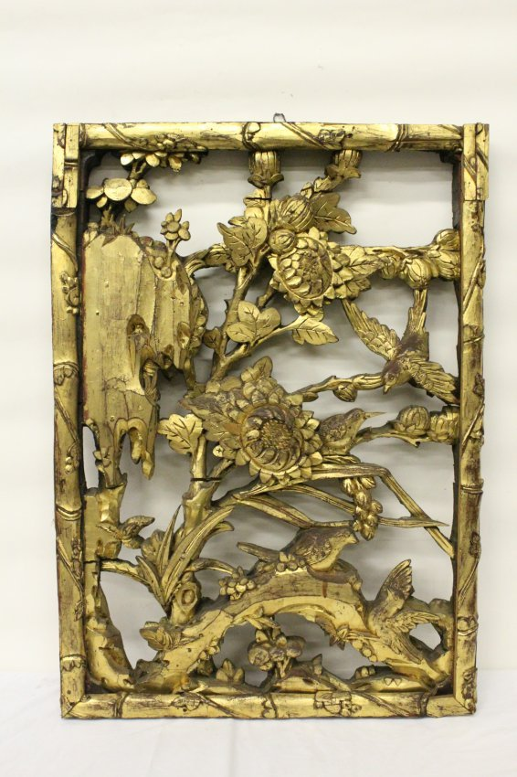 Chinese antique gilt wood carved panel lot