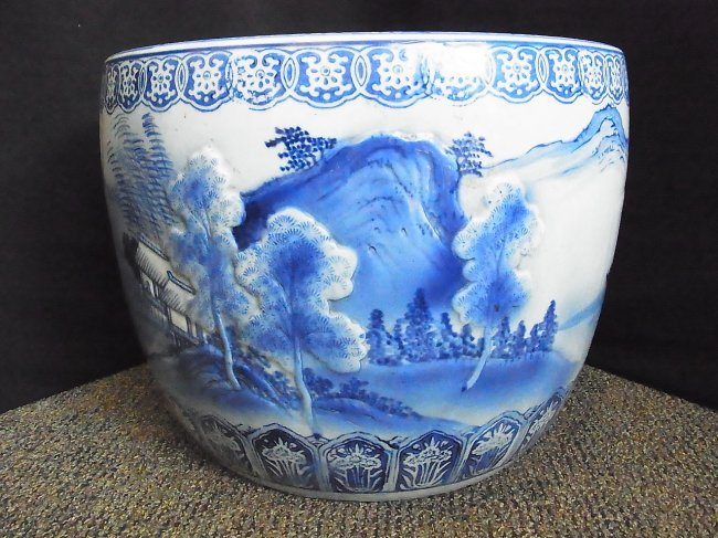 72 large hand painted blue and white koi fish bowl pla for Koi viewing bowl