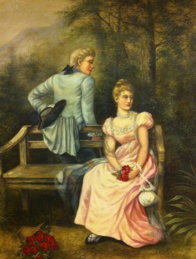 5: Large Victorian painting man and woman : Lot 5