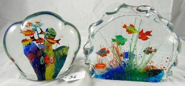 36 2 murano art glass aquarium sculptures lot 36. Black Bedroom Furniture Sets. Home Design Ideas