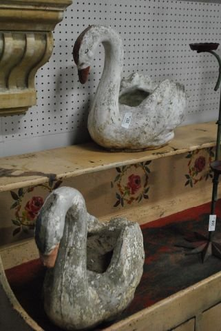 Concrete swan planter x2 lot 357 - Concrete swan planter ...