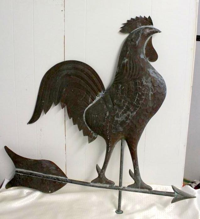 "Antique Rooster Weathervane: 37"" Copper Rooster Chicken Antique Weathervane Hollow"