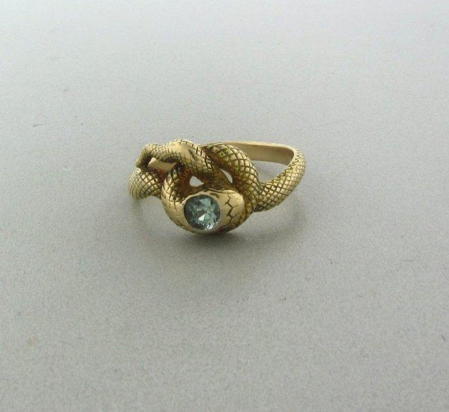 082 antique 14k gold blue zircon snake ring