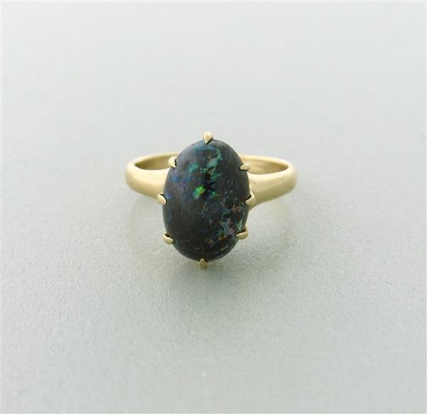 antique 14k gold black opal ring lot 5