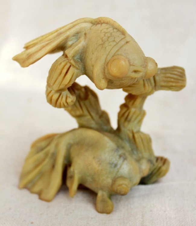 Chinese carved jade koi fish sculpture lot 73 for Koi fish statue
