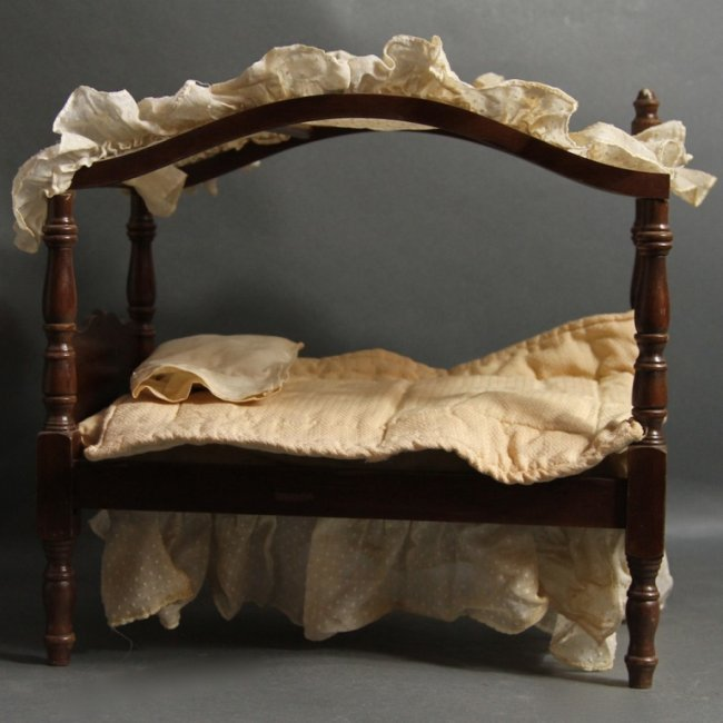 antique canopy doll bed lot 383