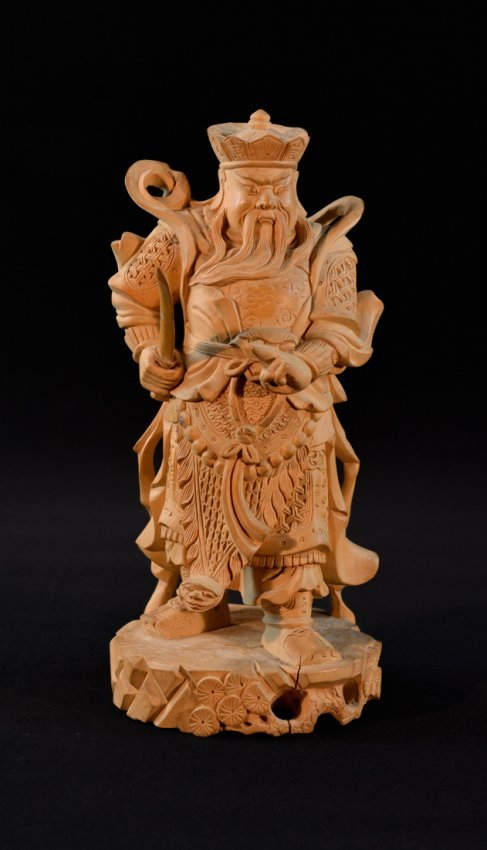 Chinese boxwood carving of a warrior lot