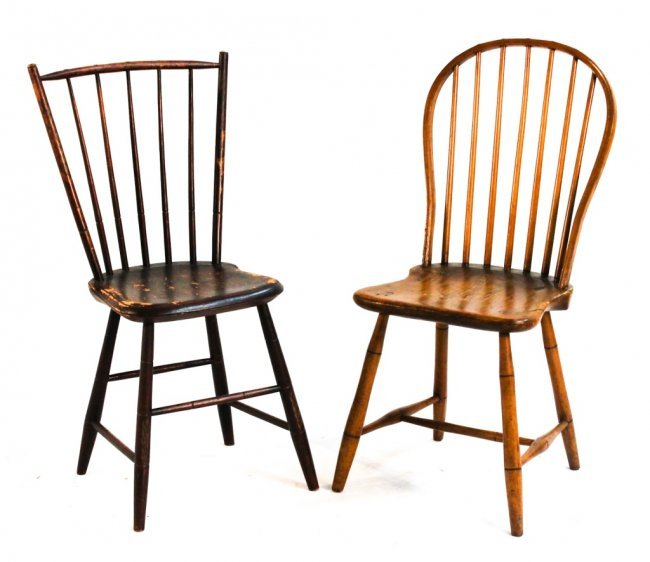Two american windsor country side chairs lot 582
