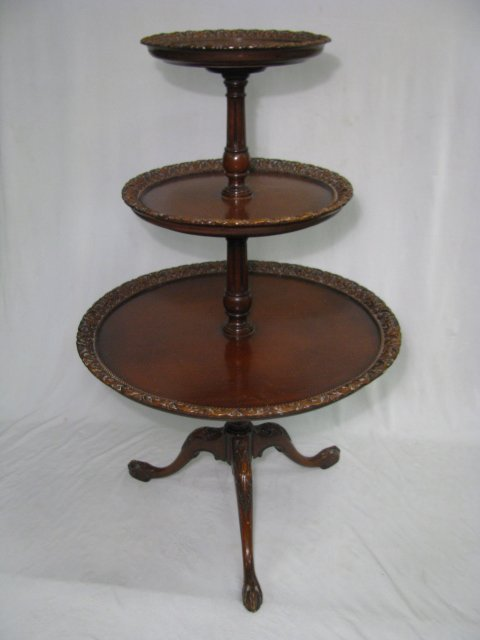 Tier wood pie crust table w claw ball feet lot