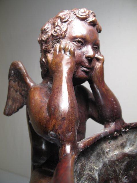 230 Maitland Smith Bronze Urn Planter Winged Cherubs