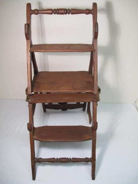 223 Antique Wooden Step Stool Library Chair Lot 223