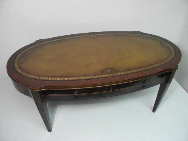 216 mahogany leather top coffee table lot 216